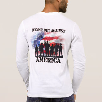 T-shirt Jamais pari patriotique frais contre l'Amérique