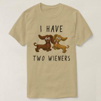 T-shirt Je prends deux saucisses, teckel drôle
