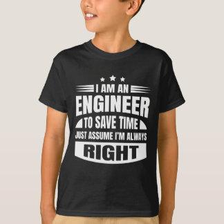 T-shirt Je suis un ingénieur pour épargner le temps