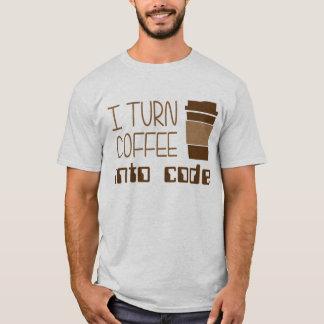 T-shirt Je transforme le café en code de programmation