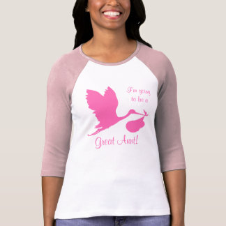 T-shirt Je vais être une grande cigogne de tante rose