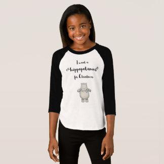 T-shirt Je veux un hippopotame pour Noël - chemise