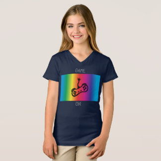 T-shirt Jeu sur la pièce en t de V-Cou de filles