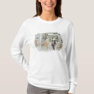 T-shirt Jeunes femmes avec un panier des chrysanthèmes