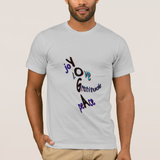 T-shirt Joie + Amour + Gratitude + Paix = yoga