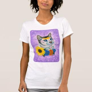 T-shirt Jour de l'art mort de chat de crâne de sucre de