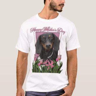 T-shirt Jour de mères - tulipes roses - teckel - Winston