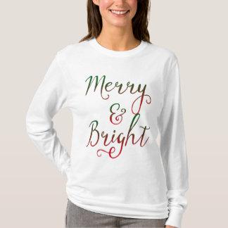 T-shirt Joyeuse et lumineuse calligraphie de Noël