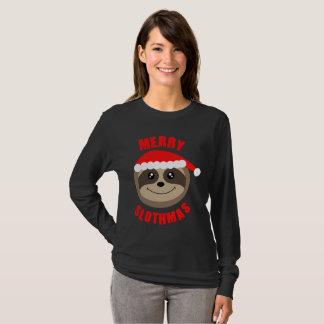 T-shirt Joyeux dessus mignon de Noël de Slothmas