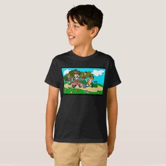 T-shirt Kangourou et tigre de bande dessinée dans une