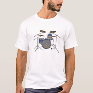 T-shirt Kit de tambour de jazz - finition bleue faite sur
