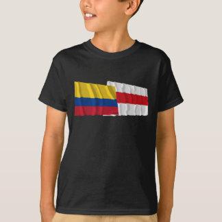 T-shirt La Colombie et les drapeaux de ondulation