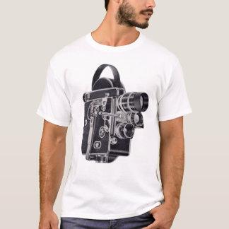 T-shirt La pièce en t vintage des femmes bleues de caméra
