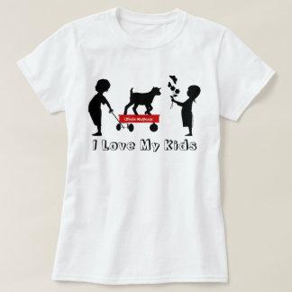 T-shirt La silhouette mignonne de chèvre de chariot rouge