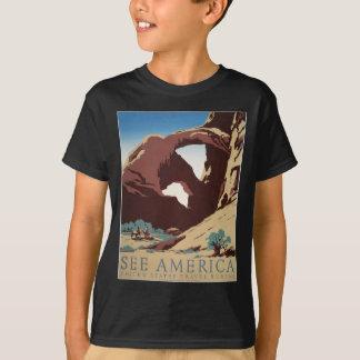 T-shirt L'affiche vintage de voyage de WPA voient des