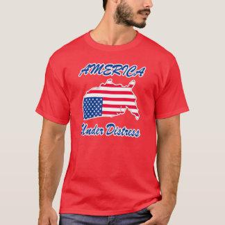 T-shirt L'Amérique sous la chemise de détresse - rouge