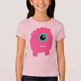 T-shirt L'amusement et le monstre rose mignon de la fille