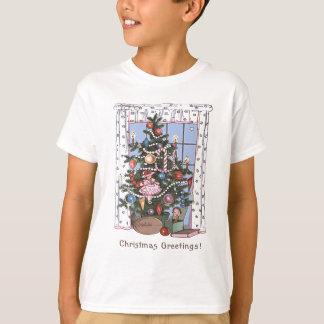 T-shirt L'arbre de Noël illuminé par des bougies présente