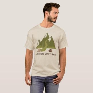 T-shirt L'aventure de randonnée de camping commence ici