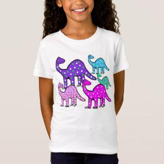 T-Shirt Le cadeau rose et pourpre de la fille de dinosaure