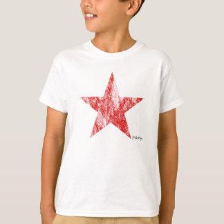 T-shirt Le cru rouge d'étoile de coureur de café a dénommé