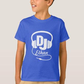T-shirt Le DJ votre blanc de nom sur le bleu badine le