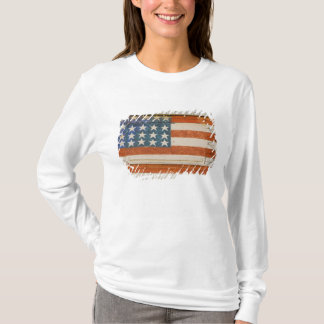 T-shirt Le drapeau américain peint sur des feux d'artifice