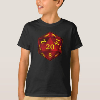 T-shirt Le FEU de cramoisi et d'or de D&D d20 meurent