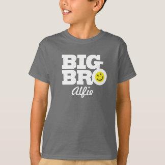 T-shirt Le grand blanc de nom de bro sur le gris badine le
