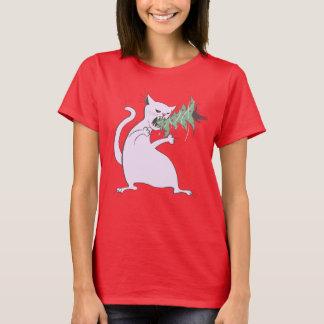 T-shirt Le gros chat blanc drôle mange l'arbre de Noël