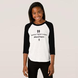 T-shirt Le raglan de la fille MoreThan1 (noir sur blanc)