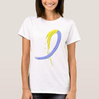 T-shirt Le ruban bleu et jaune A4 de syndrome de Down