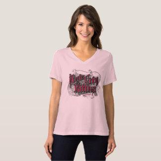 T-shirt Le V-cou de ville des femmes magiques de minous