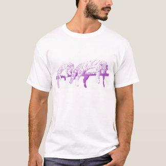 T-shirt Léopards opacifiés sur un rondin  -- Pourpre