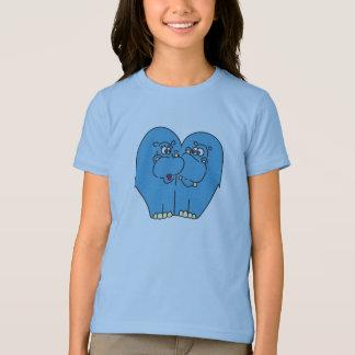 T-shirt Les hippopotames bleus de bande dessinée dans