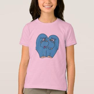 T-shirt Les hippopotames mignons de bande dessinée dans