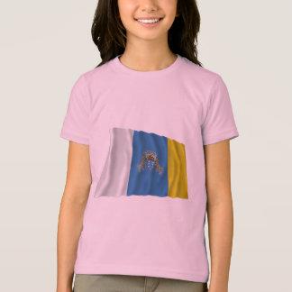 T-shirt Les Îles Canaries ondulant le drapeau