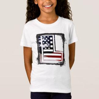 T-Shirt Lettre L drapeau patriotique des Etats-Unis