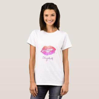 T-shirt Lèvres Girly modernes de scintillement, maquilleur