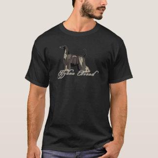 T-shirt Lévrier afghan, détaillé, noir