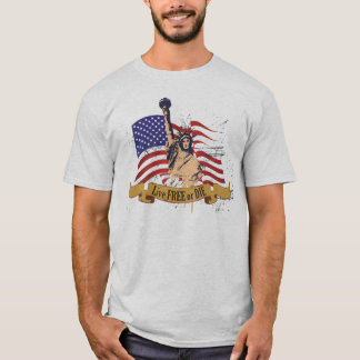 T-shirt Libres vivants ou meurent drapeau américain de