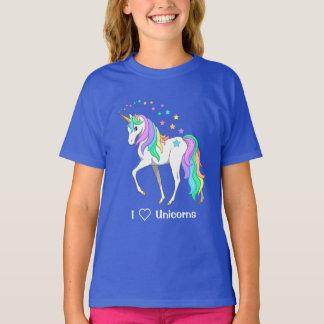T-shirt Licorne et étoiles colorées d'arc-en-ciel