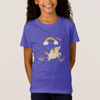 T-Shirt Licorne heureuse avec des nuages et des fleurs
