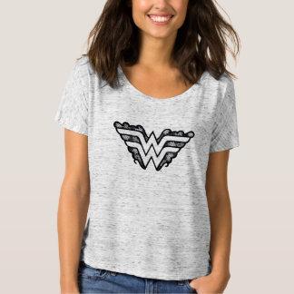 T-shirt Logo de dentelle de noir de femme de merveille