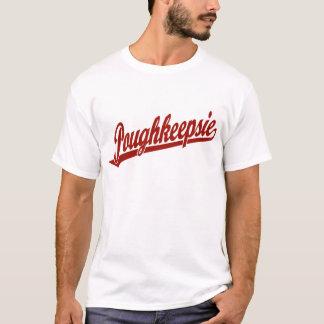 T-shirt Logo de manuscrit de Poughkeepsie en rouge