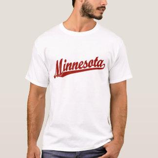 T-shirt Logo de manuscrit du Minnesota en rouge