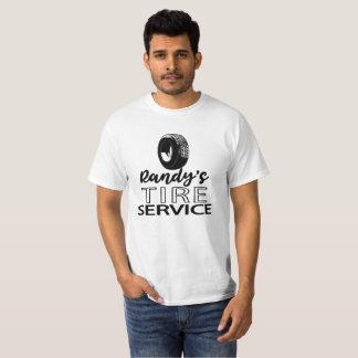 T-shirt Logo noir   du service   du pneu de Randy que vous