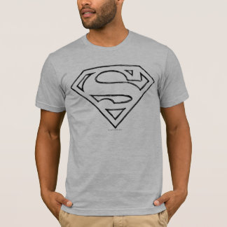 T-shirt Logo noir simple d'ensemble du S-Bouclier | de