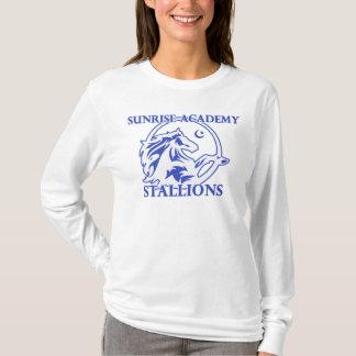 T-shirt Longsleeves des femmes adultes de logo d'étalon
