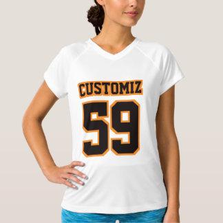 T-shirt L'usage actif V des femmes ORANGES NOIRES BLANCHES